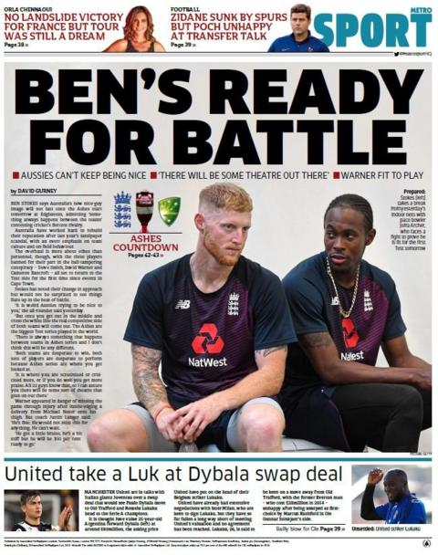 Metro back page on Wednesday
