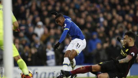 Ademola Lookman scores on his debut for Everton in a win over Manchester City