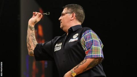 Gary Anderson in action at the Grand Slam of Darts