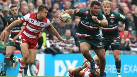 Ellis Genge on the charge for Leicester against Gloucester