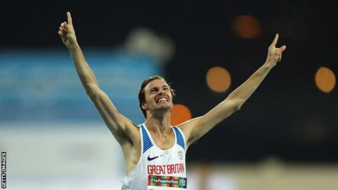 Paul Blake celebrates as he crosses the line to claim gold in the T36 800m at the World Para-Athletics Championships.