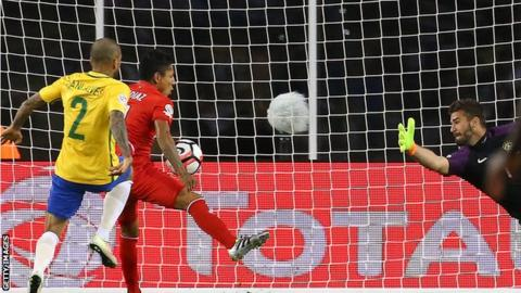 Ruidiaz scoring the winner against Brazil