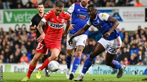 Mo Besic puts Middlesbrough 1-0 up against Ipswich