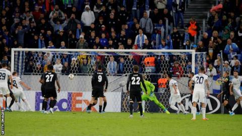 Slovan Bratislava against Besiktas last month