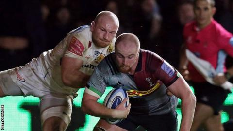 James Chisholm scores try for Harlequins