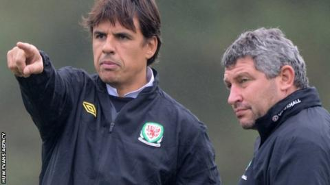 Wales manager Chris Coleman and assistant Osian Roberts
