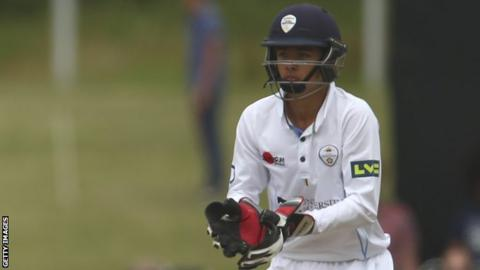 Harvey Hosein in action for Derbyshire