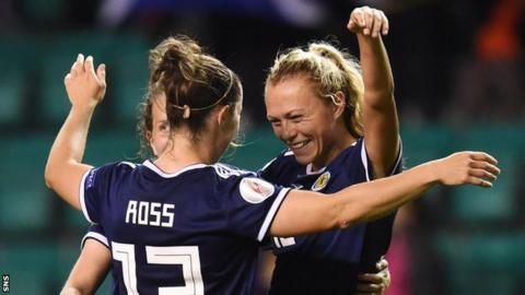 Claire Emslie and Jane Ross celebrate a Scotland goal