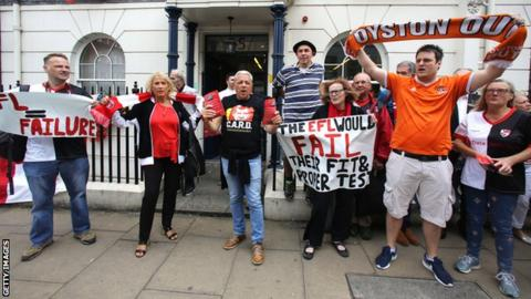 Blackpool and Charlton supporters protest outside EFL offices in London