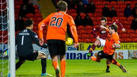 Scott McDonald scores for Motherwell against Dundee United