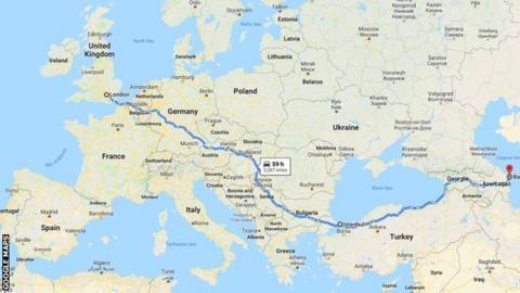 Google Maps directions from London to Baku Olympic Stadium