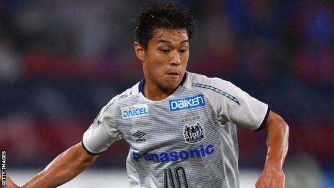 Ryotaro Meshino in action for Gamba Osaka