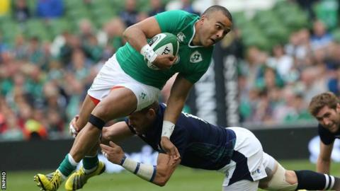 Simon Zebo scored one of Ireland's four tries against Scotland