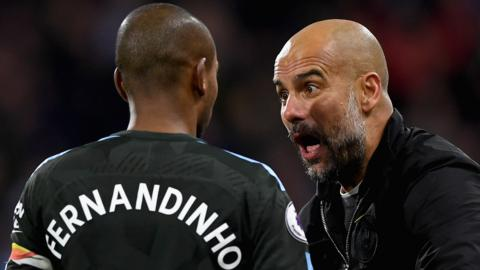 Fernandinho and Pep Guardiola