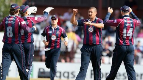 Northants players celebrate