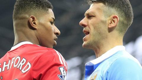 Demichelis (right) squares up to Manchester United striker Marcus Rashford