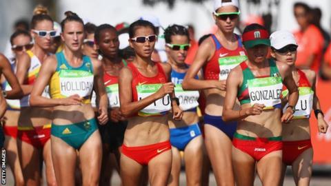 Liu Hong and Maria Guadalupe Gonzalez compete in the women's 20km walk