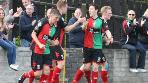 Calum Birney found the net twice in Glentoran's 4-2 comeback success over Dungannon Swifts at Stangmore Park