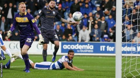 QPR striker Tomer Hemed watches his header put his side 1-0 up against Sheffield Wednesday