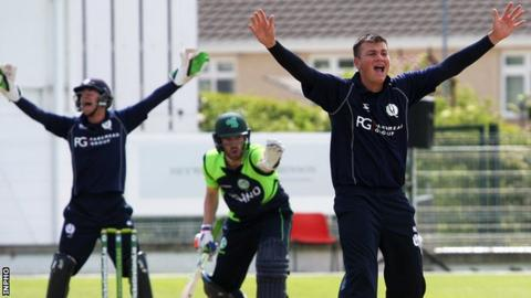 Scotland appeal for an Irish wicket