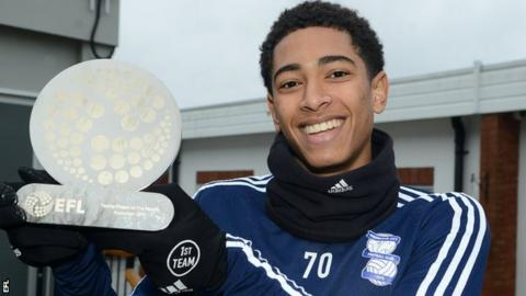 Jude Bellingham with the EFL Young Player of the Month award in November