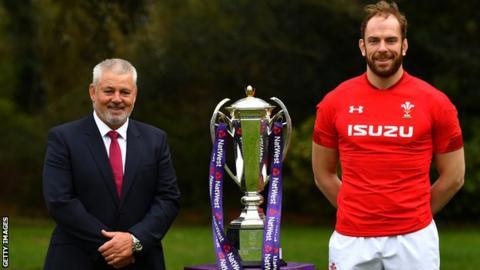 Wales boss Warren Gatland and captain Alun Wyn Jones with the Six Nations trophy