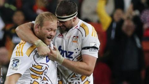 Jarrod Firth (left) in action for the Chiefs