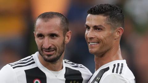 Giorgio Chiellini and Cristiano Ronaldo