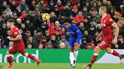 6e34626417d Willian scores Chelsea s equaliser against Liverpool