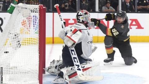 Tomas Nosek scores for the Vegas Golden Nights against Washington Capitals