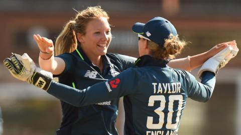 England's Katie George and Sarah Taylor