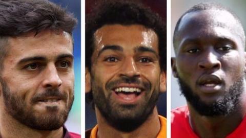 Bernardo Silva, Mohamed Salah and Romelu Lukaku