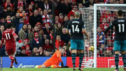 Mohamed Salah scores Liverpool's second goal against Southampton