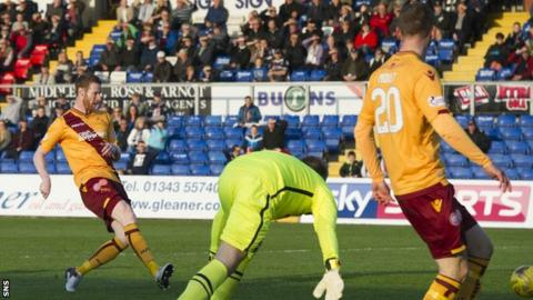 Stephen Pearson scores for Motherwell against Ross County