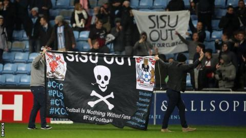 Coventry City fans protest against the club's owners