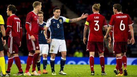 Scott Brown earned his 50th cap against Denmark in March