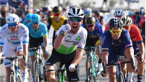 Mark Cavendish celebrates coming first in the Dubai Tour third stage