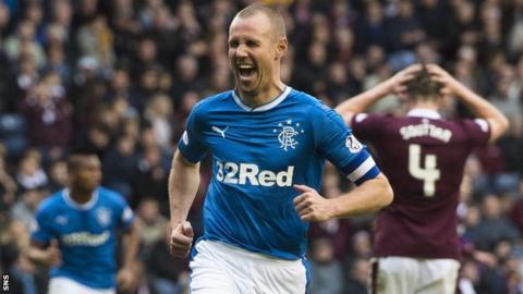 Rangers striker Kenny Miller celebrates