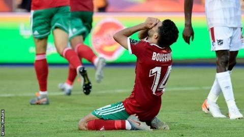 Mbark Boussoufa celebrates Morocco's late winner against Namibia