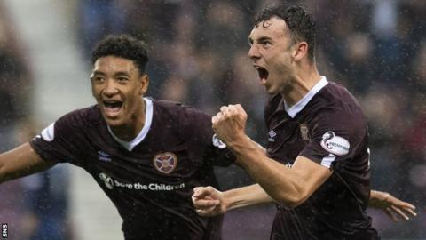 Andy Irving scored and was sent off as Hearts started their campaign with a penalty shoot-out win over Dundee United