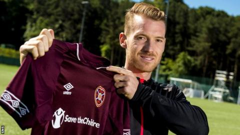 Oliver Bozanic poses with a Hearts shirt