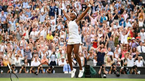 Wimbledon, England, 6 July: Very few people in the sporting world will have enjoyed a better week than emerging American tennis star Coco Gauff. The crowd on Centre Court certainly enjoyed the 15-year-old's gutsy victory over Slovenia's Polona Hercog in the third round of the women's singles at Wimbledon. (Photo by Daniel LEAL-OLIVAS / AFP)