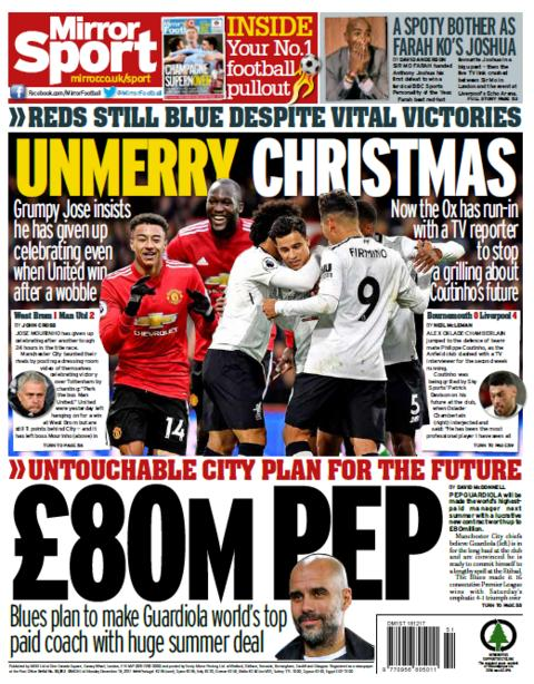 Mirror back page on Monday