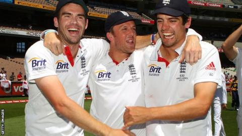 England's James Anderson, Graeme Swann and Alastair Cook celebrate retaining the Ashes in Melbourne in 2010