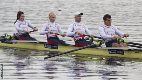 The GB mixed coxed four crew in training