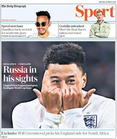 Telegraph sport section on Saturday
