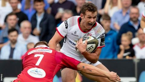 Billy Burns in action for Ulster during his competitive debut against Scarlets