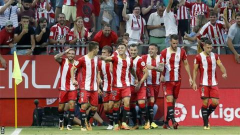 Girona players celebrate