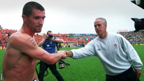 Then Republic boss McCarthy shakes hands with Roy Keane after the World Cup qualifier win over the Netherlands in 2001