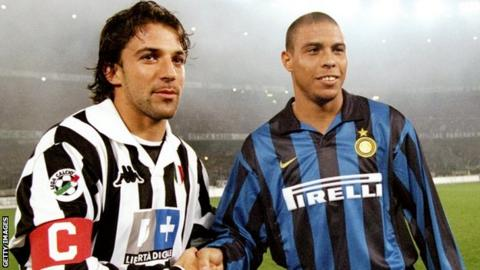 Alessandro del Piero and Ronaldo in the Derby D'Italia's 90s heyday